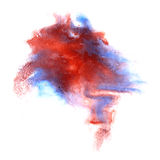 Paint splash brown, blue,red ink stain watercolour Stock Photo