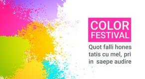 Paint Splash Color Festival Happy Holi India Holiday Traditional Celebration Greeting Cart. Flat Vector Illustration Royalty Free Stock Images