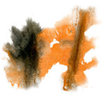 Paint splash color ink watercolor isolate orange black stroke splatter watercolour aquarel brush Royalty Free Stock Photos