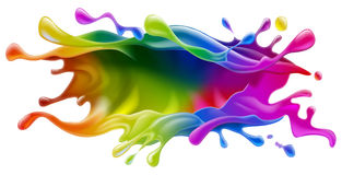 Paint splash design. A paint splash colorful rainbow paint or ink design royalty free illustration