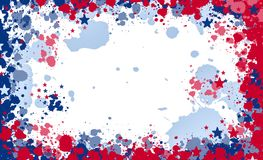 Paint splash frame in the national colours of the United States vector illustration