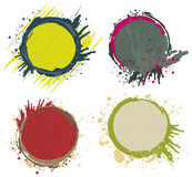 Paint splash frames. Coloured circle frames with paint splash design elements Royalty Free Stock Image