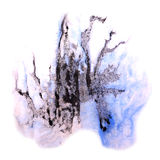 Paint splash ink blue, violet, black stain Stock Photography