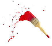 Paint splash. Paintbrush with red paint splash isolated on white Stock Photo