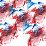 Paint splash red, blue ink blot and white abstract art brushe. S isolated Royalty Free Illustration