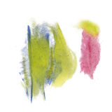 Paint splash yellow blue pink color ink watercolor isolated stroke splatter watercolour aquarel brush Royalty Free Stock Image