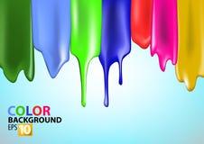 Paint splashes. Colorful bright paint splashes on blue background royalty free illustration