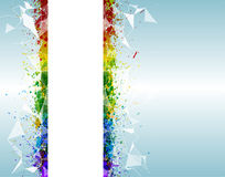 Paint splashes triangular background for poster. Abstract and futuristic with vibrant colors Stock Photography