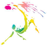 Paint splashing - Bicycle kick Royalty Free Stock Image