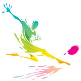 Paint splashing - Soccer player kicking the ball Royalty Free Stock Image