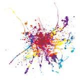 Paint splat rainbow. Rainbow ink splat on a white background multi coloured Stock Photo