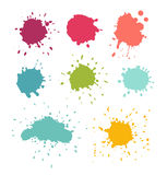Paint splats. Stain and water drop set. Isolated vector illustration on white background Stock Image