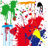 Paint Splatter. A vector illustration of different colored paint splattered on a white wall Stock Photography