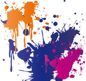 Paint Splatter. A vector illustration of different colored paint splattered on a white wall Stock Photo