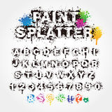 Paint Splatter Alphabet. And numbers Royalty Free Stock Photography