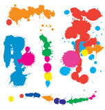 Paint Splatter. Colorful splatters of stains and multi colored paint splashes Stock Images