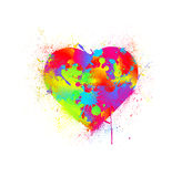 Paint splatter heart. Vector illustration Stock Photos