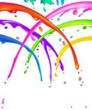Paint Splatter. Lots of colorful liquid paint splatter - seems like a cheerful shower stock illustration