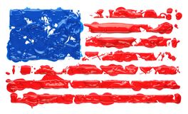 Paint splatter in the shape of American flag. Paint splatter abstract in the shape of American flag stock images
