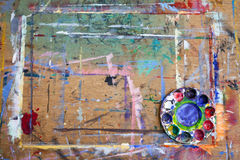 Paint Splattered Board and Mixing Palette Stock Photo