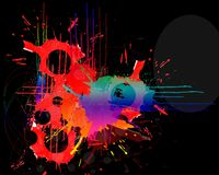 Paint splatters. On black background Stock Image