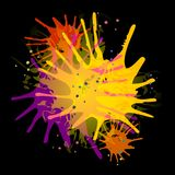 Paint Splatters on Black. A background illustration featuring colourful paint splatters on black background Stock Images