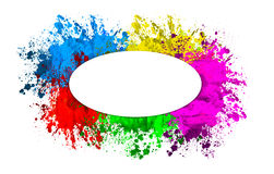 Paint splatters in circle Stock Photo