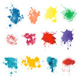 Paint splatters. Various color paint splatters isolated over white background vector illustration