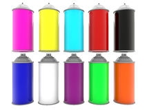 Paint spray cans in two lines Royalty Free Stock Photos