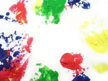 Paint stains. Red blue yellow green paint stains on white background Royalty Free Stock Image