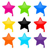 Paint star. Colorful vector collection of isolated glossy star elements with paint drop on white background. Ideal for your logo, icon, illustration Stock Photography