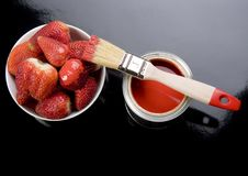 Paint and Strawberies Stock Image