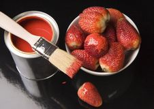 Paint and Strawberies Royalty Free Stock Photos