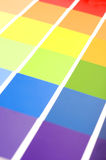 Paint Strips (focus on green/yellow) stock photography