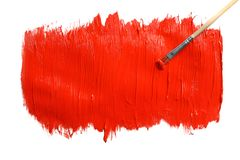 Paint stroke and brush on white background. Top view stock photos