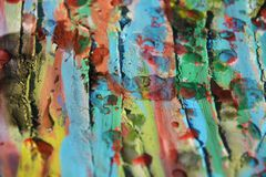 Paint strokes of brush, watercolor hues and wax Royalty Free Stock Photo