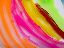 Paint strokes on the glossy surface on the lumen Royalty Free Stock Photography