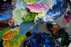Paint strokes. Multi-colored spots an oil paint Stock Photos