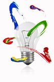 Paint orbiting around the light bulb Stock Photos