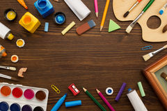 Free Paint Supplies And Brush On Wood Royalty Free Stock Photography - 57774597