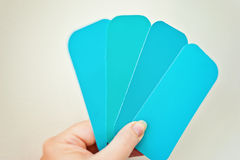 Paint swatches, in hand Royalty Free Stock Photos