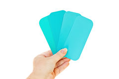 Paint swatches, turquoise, on white Stock Photography