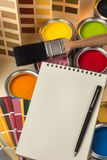 Paint Tester Pots - Notepad - Space for Text Royalty Free Stock Photo