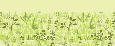 Paint textured green plants horizontal seamless Stock Photos