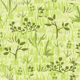 Paint textured green plants seamless pattern Stock Image