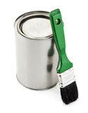 Paint tin with brush. On white background Stock Photography