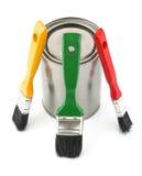 Paint tin with brushes. On white background Stock Photo