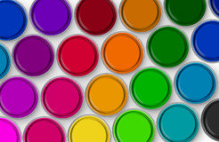 Paint tins. Multicolored paint tins, aerial view royalty free stock image
