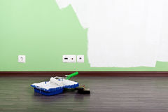 Paint tools. Paint roller and brushes,interior stock photography