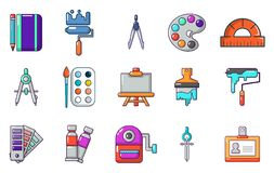Paint tools icon set, cartoon style. Paint tools icon set. Cartoon set of paint tools vector icons for web design isolated on white background Stock Image
